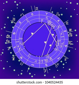 synastry natal astrological chart, zodiac signs on night starry sky  vector illustration