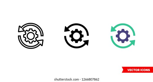 Sync settings icon of 3 types: color, black and white, outline. Isolated vector sign symbol.