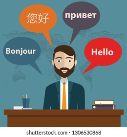 Synchronic translation services and international court legal interpreting. Word hello written on French, Chinese and Russian