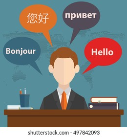 Synchronic translation services and international court legal interpreting flat banners set abstract vector illustration.