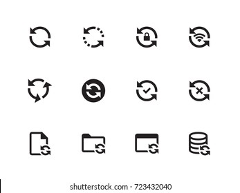 Synchronization and Refresh vector icons on white background. Vector illustration.