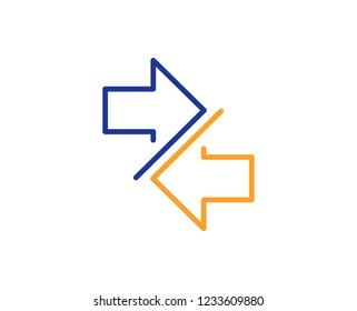 Synchronize arrows line icon. Communication Arrowheads symbol. Navigation pointer sign. Colorful outline concept. Blue and orange thin line color icon. Synchronize Vector