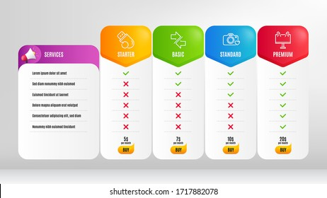 Synchronize, Photo camera and Road banner line icons set. Pricing table, price list. Flash memory sign. Communication arrows, Love photos, Advertisement. Recovery usb. Business set. Vector