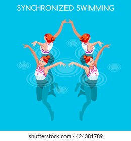 Synchronized female Swimming Sportswoman Games Icon Set. 3D Isometric Swimmer Team. Water Dance female Swimming Sporting Competition. Sport Infographic Synchronized Swimming events Set Vector People
