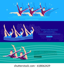 Synchronized swimming banners water sport. Professional athletes womens team of synchronized swimming perform in the water