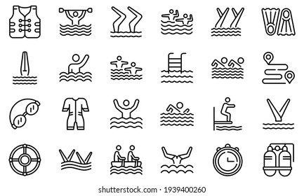 Synchronized swimming icon. Outline synchronized swimming vector icon for web design isolated on white background