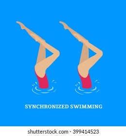 Synchronized swimming.Paired performances synchronized swimmers.Illustration of a flat style.