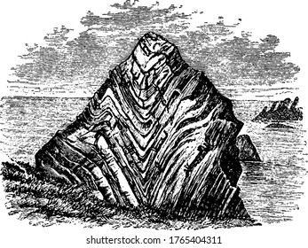 Synclinal fold, it is a concave geological fold, with layers that dip downward toward the centre of the structure, vintage line drawing or engraving illustration.