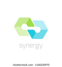 Synergy abstract vector icon.