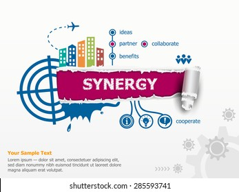 Synergy concept and breakthrough paper hole with ragged edges with a space for your message.