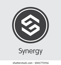 Synergy - Cryptocurrency Sign Icon. Vector Symbol of Crypto Currency Icon on Grey Background. Vector Coin Illustration SNRG.