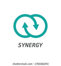 Synergy icon, arrow synergy logo , vector illustration