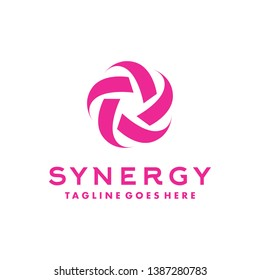 Synergy Logo For Company. Technology Icon And Digital Vector. Modern Symbol Design Inspiration. Vector Community Circle Design.