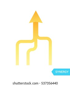 Synergy vector Icon. Vector sign arrows in movement, together.