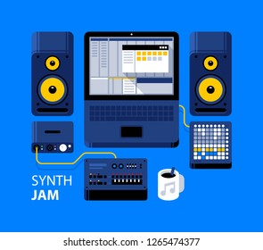 Synth jam illustration. Laptop with DAW, analog synthesizer, studio monitors, midi controller, audio interface. Recording, arranging, mixing.