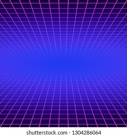 Synth wave retro grid background. Synthwave 80s vapor vector game poster neon futuristic laser space arcade.