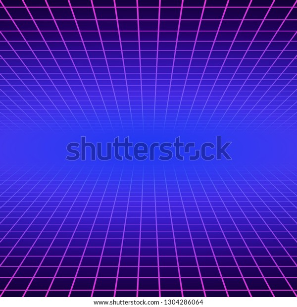 Synth Wave Retro Grid Background Synthwave Stock Vector Royalty Free 1304286064