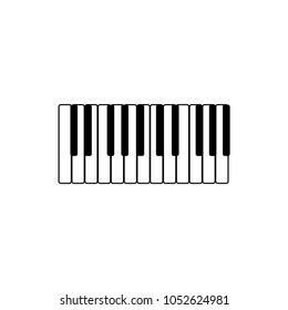 Synthesizer keyboard piano royal black and white music, musical instrument vector icon illustration symbol