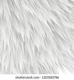 synthetic fur vector texture. White shaggy animal skin imitation, furry background.