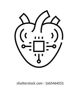 Synthetisches Herzliniensymbol, Concept-Zeichen, Umriss-Vektorillustration, Linearsymbol.