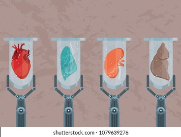 Synthetic lab-grown human organs. Future of medicine and transplantation. Test tubes with heart, kidney, lung and hepar