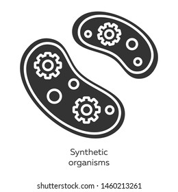 Synthetic organisms glyph icons set. Engineering bacteria. Single celled organisms. Protozoans. Build artificial biological systems. Bioengineering. Silhouette symbols. Vector isolated illustration