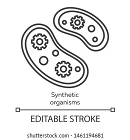 Synthetic organisms linear icon. Engineering bacteria. Single celled organisms. Protozoans. Biotechnology. Thin line illustration. Contour symbol. Vector isolated outline drawing. Editable stroke