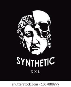 synthetic slogan with statue face and skull illustration