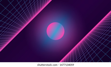 Synthwave background. 80s retro style. Dark futuristic backdrop with two inclined perspective grids. Sci-fi strange glowing sun in the middle. Geometric template