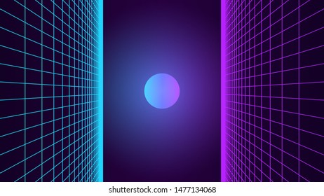 Synthwave background. 80s retro style. Dark futuristic backdrop with two perspective grids from sides. Sci-fi strange glowing sun in the middle.  Geometric template