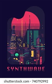 Synthwave flat vector concept design. Retro futuristic poster template on 80s style sci-fi. Vector flat design on dark dystopian megalopolis with neon lights, huge skyscrapers and gigantic sun disc