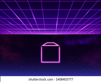 Synthwave neon grid futuristic background with folder icon in space, retro sci-fi 80s 90s. Futuresynth rave, vapor party retrowave backdrop. Cyberpunk vintage, purple, pink, blue vector illustration.