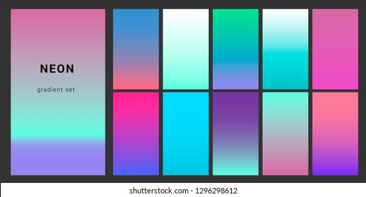 Synthwave neon palette, gradient swatches for design. Trendy pastel colors: purple, blue, and pink duotone gradients, retrowave 80s-90s aesthetics.