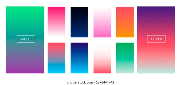 Synthwave neon palette, gradient swatches for desing. Colorful backgrounds in trendy neon colors: UFO Green, Plastic Pink, and Proton Purple, Electric Blue. Synthwave/ retrowave neon aesthetics.