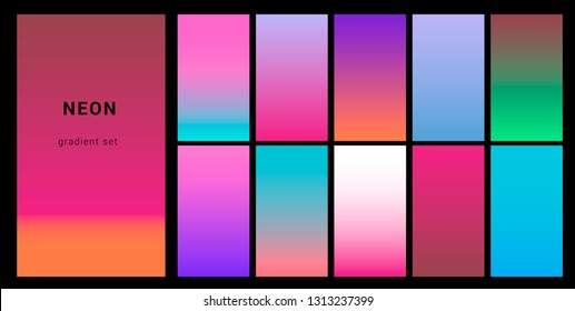 Synthwave neon palette, gradient swatches for desing. Trendy pastel colors: purple, blue, and pink duotone gradients, retrowave 80s-90s aesthetics.