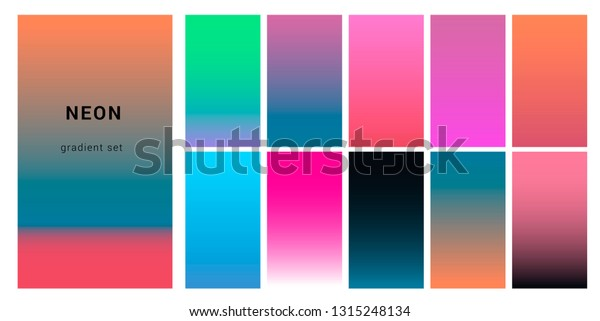 Synthwave Neon Palette Gradient Swatches Desing Stock Vector