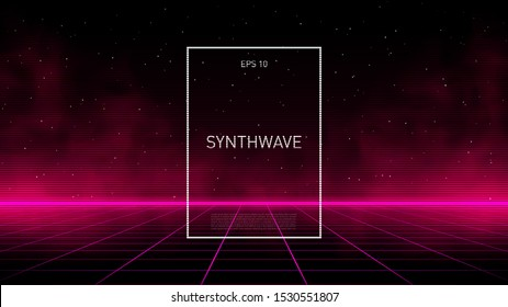 Synthwave pink cyber laser grid with glowing fog and horizon on starry space background. Design for poster, cover, wallpaper, web, banner, etc. Eps 10.