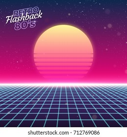 Synthwave retro design, sun, and grid vector illustration
