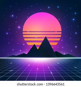 synthwave retrowave background with sun, mountains and wireframe net  vector illustration