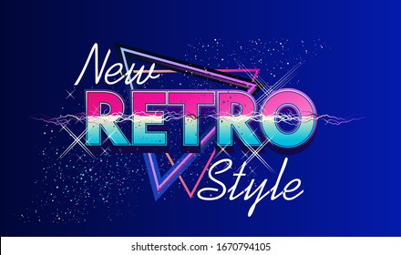 Synthwave retrowave, retro 80s, ad or invitation to a theme party with neon colors, vector illustration