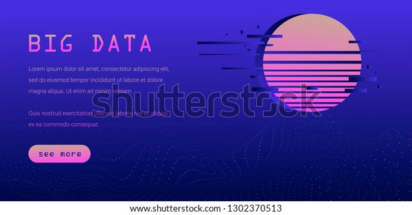 Synthwave Retrowave Style Web Page Tempate Stock Vector