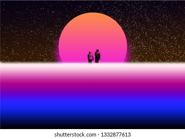 Synthwave style. background in the style of the old wave 90th 2000s.two people on the moon. old style bright and abstract