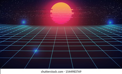Synthwave Sunset Background. Blue Perspective Grid with Distorted Retro Sun. Glitch effect. Dark 80s style banner, flyer or poster template. Starry sky. Night virtual scene. Stock vector illustration