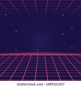 Synthwave, Vaporwave background with laser grid. Retro futuristic abstract landscape. Vector illustration