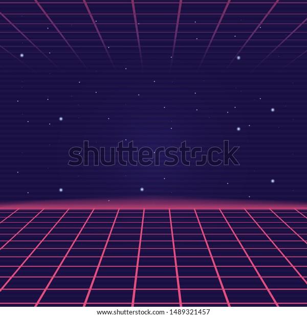 Synthwave Vaporwave Background Laser Grid Retro Stock Vector Royalty Free 1489321457