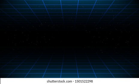 Synthwave / vaporwave / retrowave cyber background with copy space, laser grid above and below and starry sky. Design for poster, cover, wallpaper, web, banner, etc. VHS effect. Vector. Eps 10.