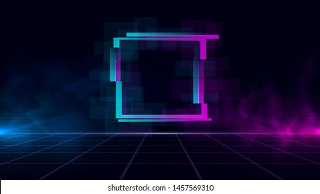 Synthwave/ vaporwave/ retrowave cyber sci-fi landscape with sparkling glitch square, laser grid, blue and purple glows with smoke and particles. Design for poster, cover, wallpaper, web, banner.