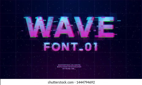 Synthwave/ Vaporwave/ Retrowave font. English letters, numbers and symbols Retrowave design with Glitch effect. Good for music events, banner, flyer, cover design.