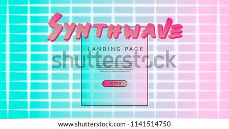 synthwave vaporwave style design template landing stock vector