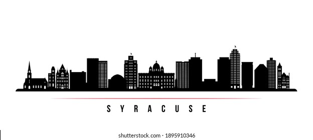 Syracuse skyline horizontal banner. Black and white silhouette of Syracuse, New York. Vector template for your design.